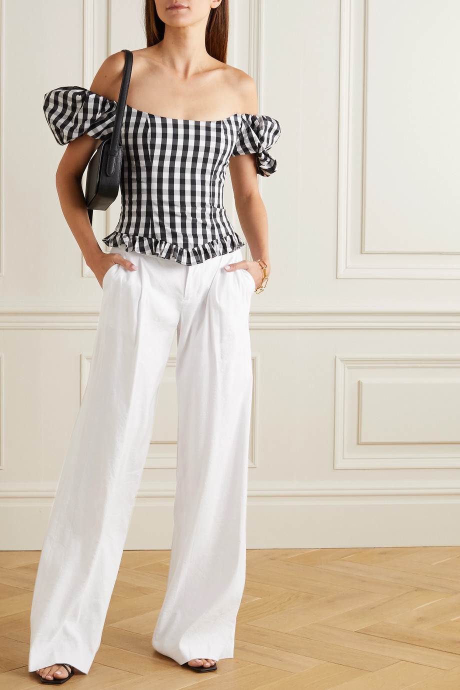 Alice + Olivia Eric pleated linen-blend wide-leg pants