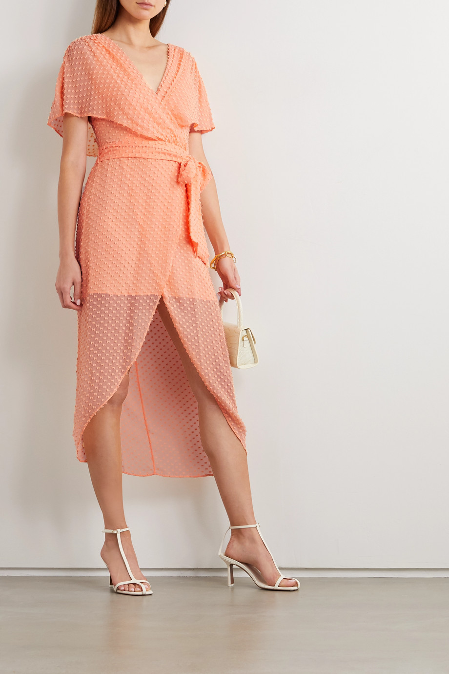Alice + Olivia Darva belted wrap-effect Swiss-dot silk and cotton-blend midi dress