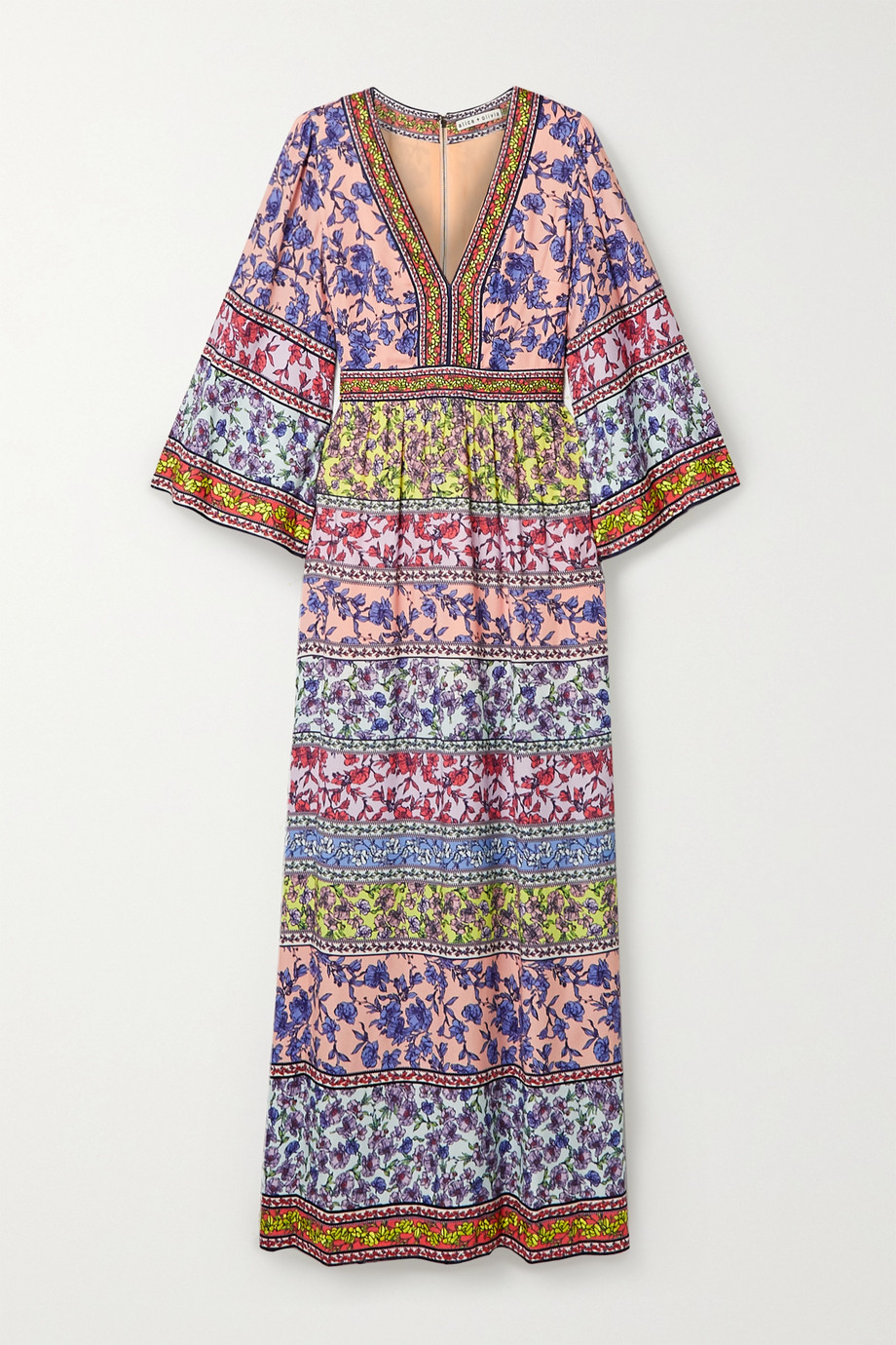 Alice + Olivia Lena embroidered floral-print crepe maxi dress