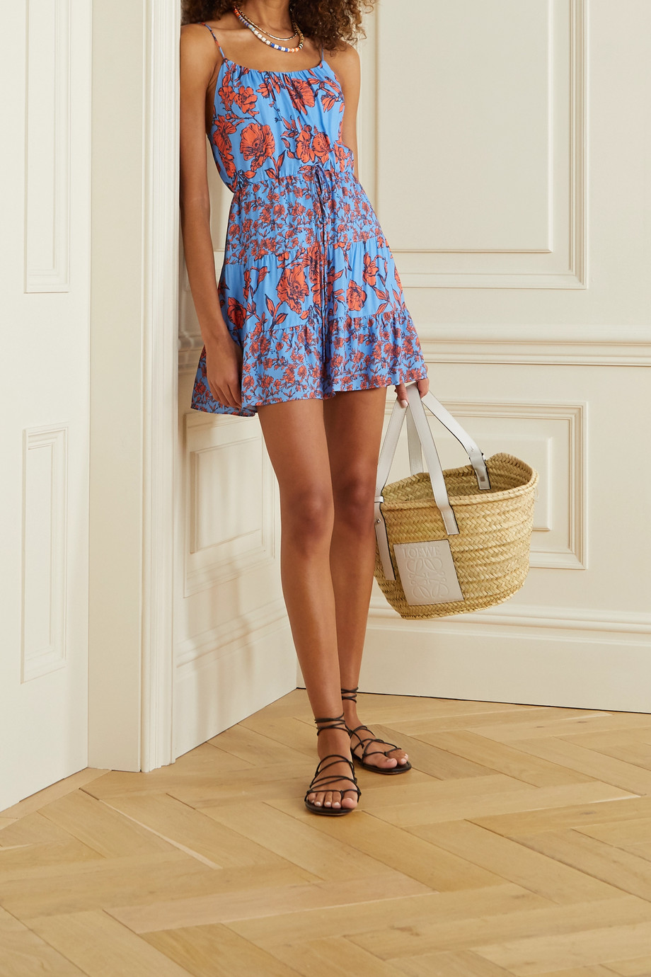Alice + Olivia Cheyla tiered floral-print crepe mini dress