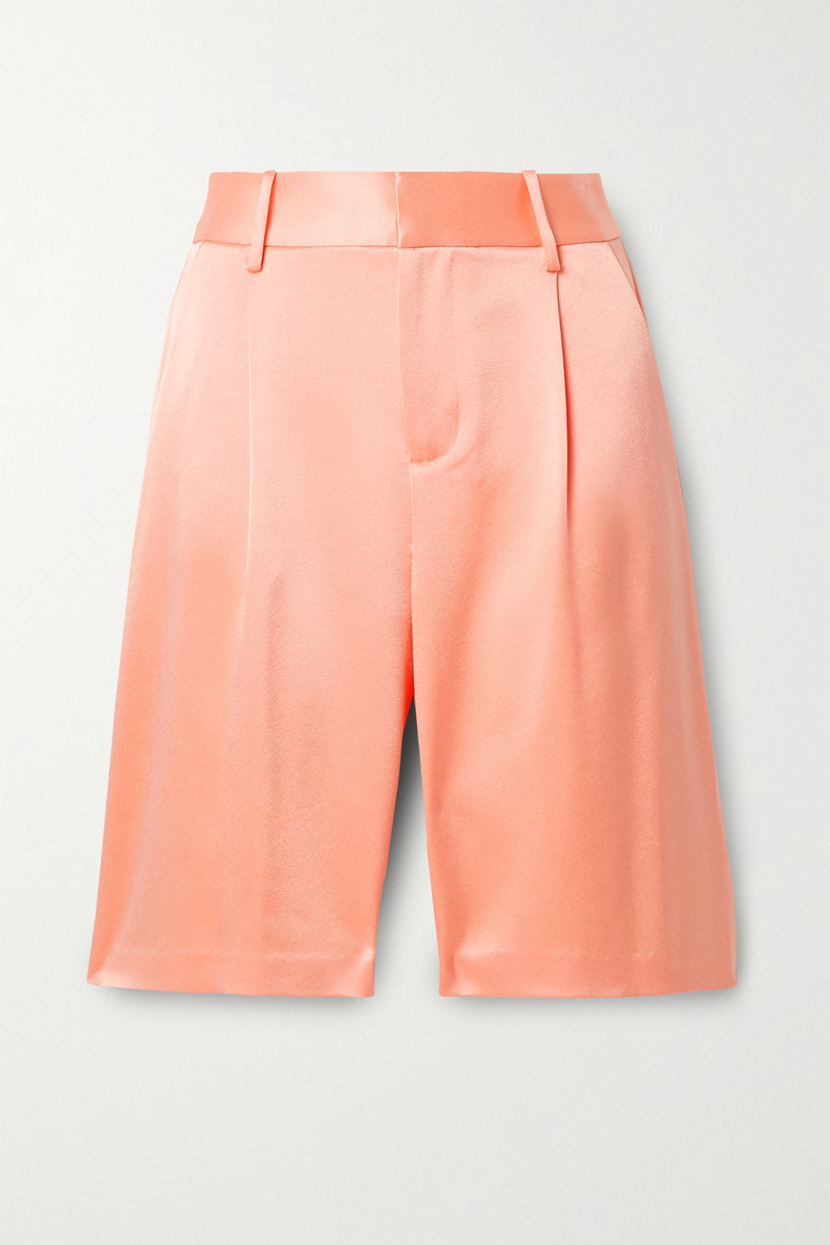 Alice + Olivia Eric pleated satin-crepe shorts
