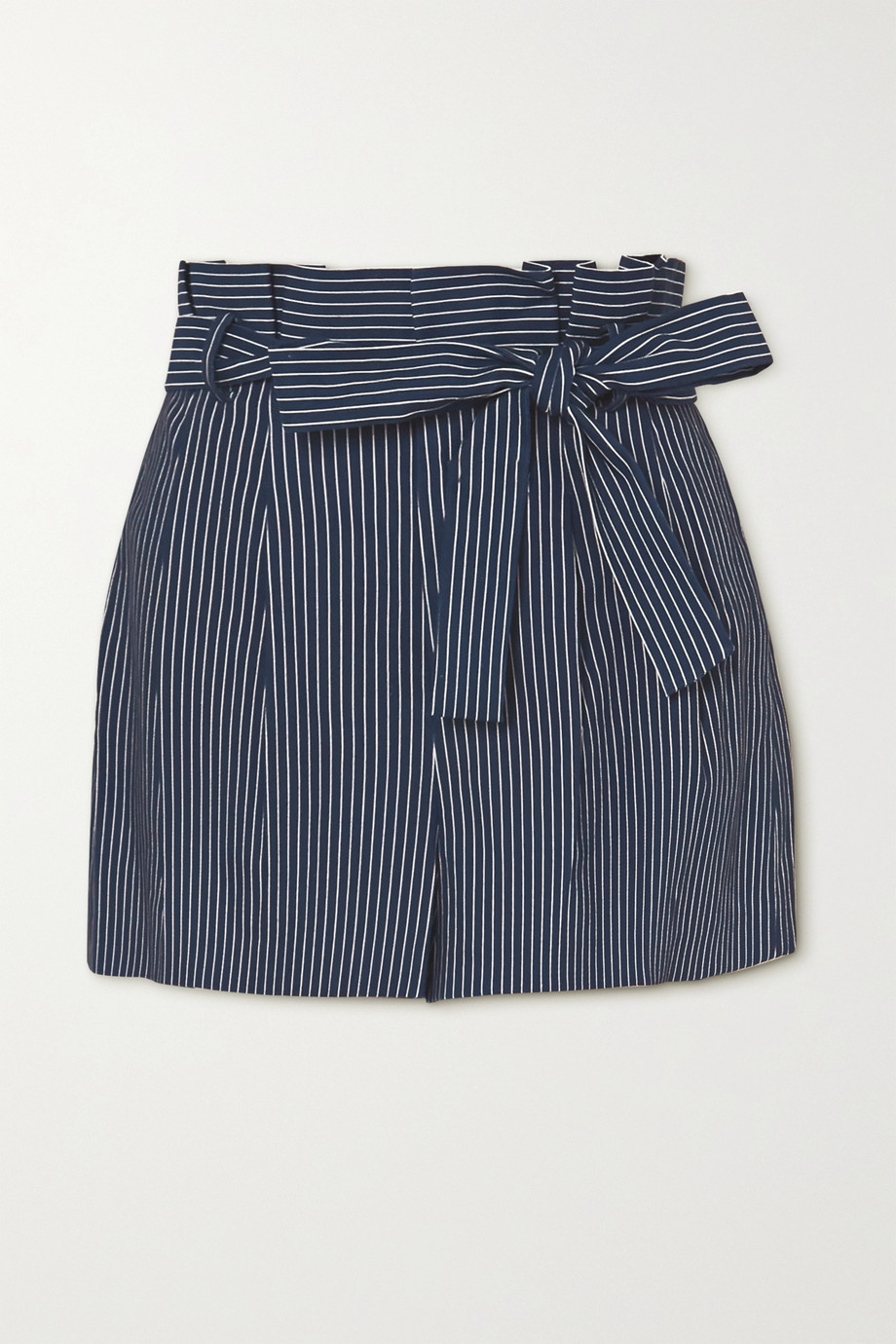 Alice + Olivia Laurine belted striped linen-blend shorts