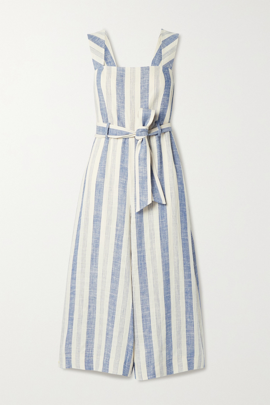 Alice + Olivia Marty belted striped linen-blend jumpsuit