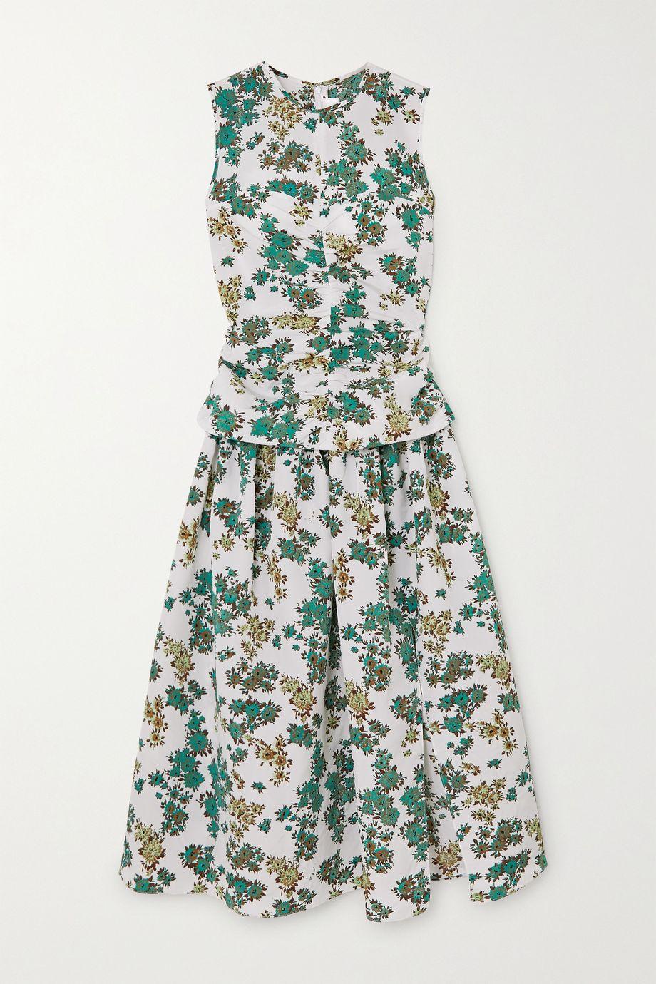 Victoria, Victoria Beckham Ruched floral-print cloqué midi dress