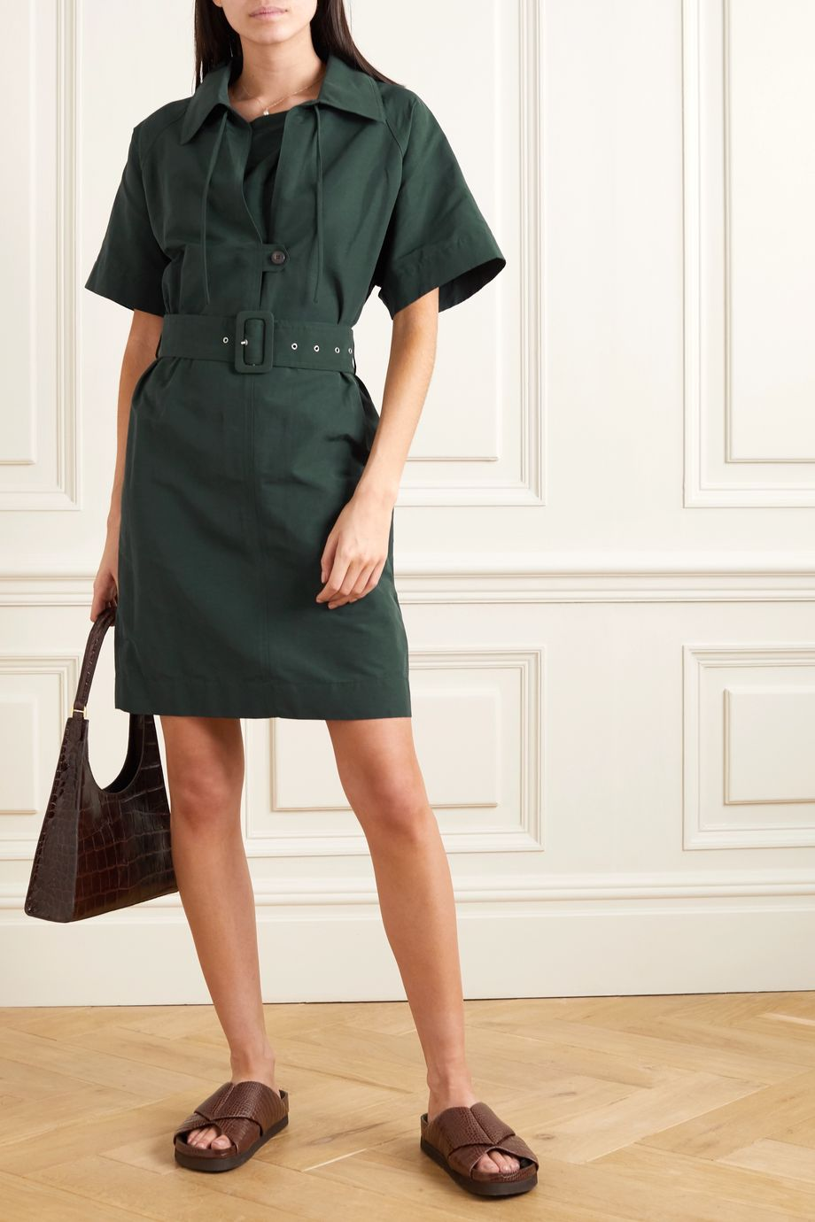Victoria, Victoria Beckham Belted woven dress