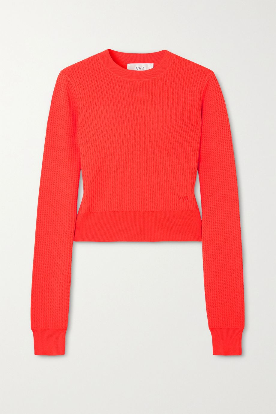 Victoria, Victoria Beckham Neon ribbed pointelle-knit sweater