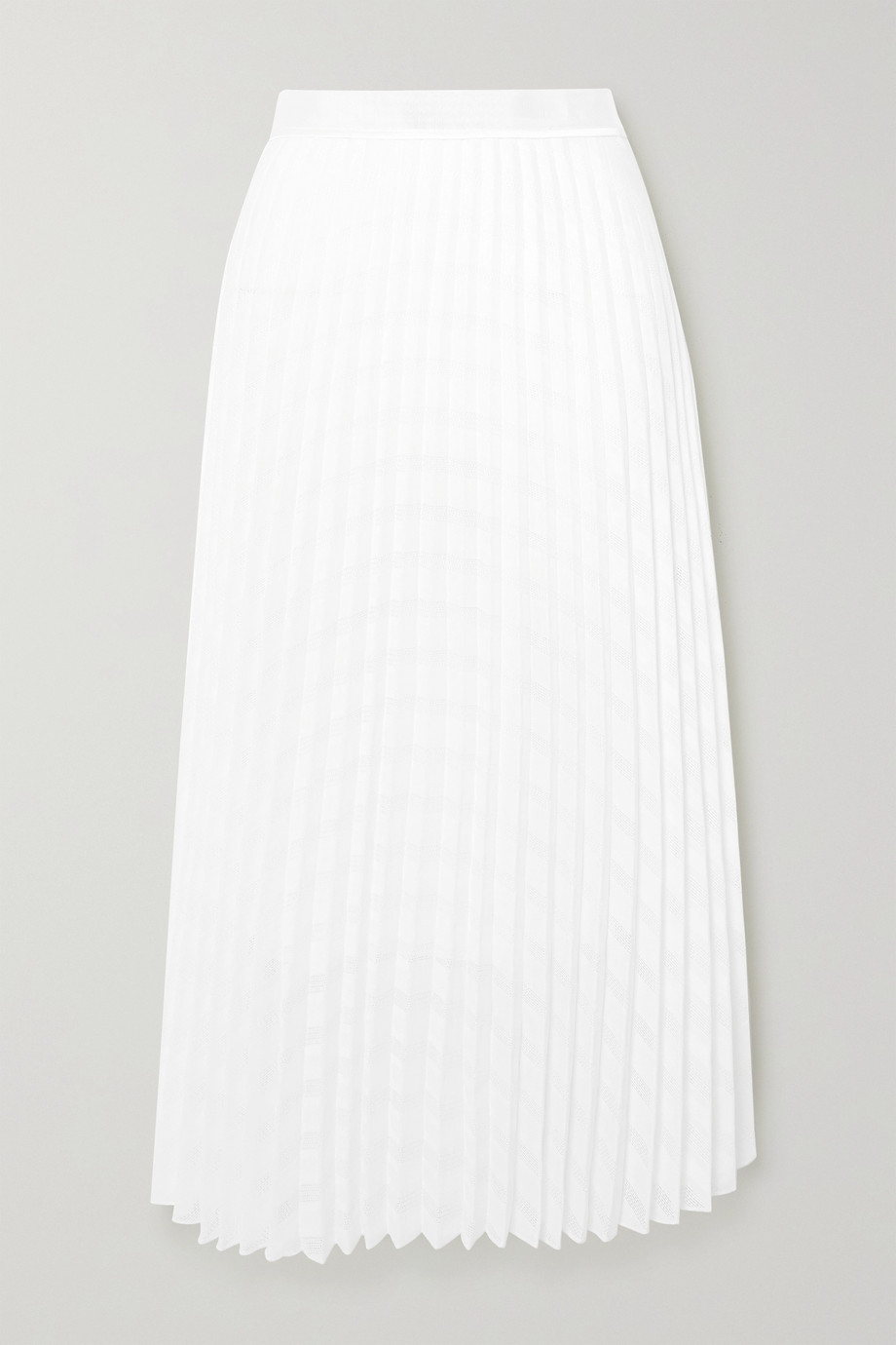 Victoria, Victoria Beckham Satin and crochet-trimmed pleated gauze midi skirt
