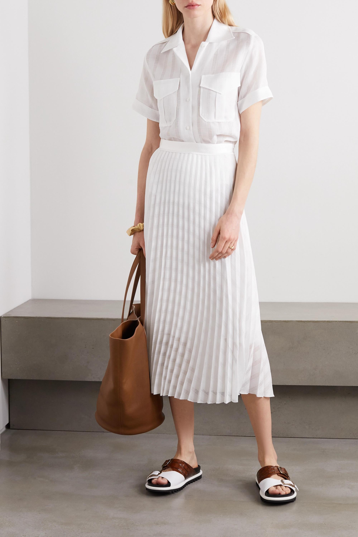 Victoria, Victoria Beckham Satin and crochet-trimmed pleated gauze midi skirt