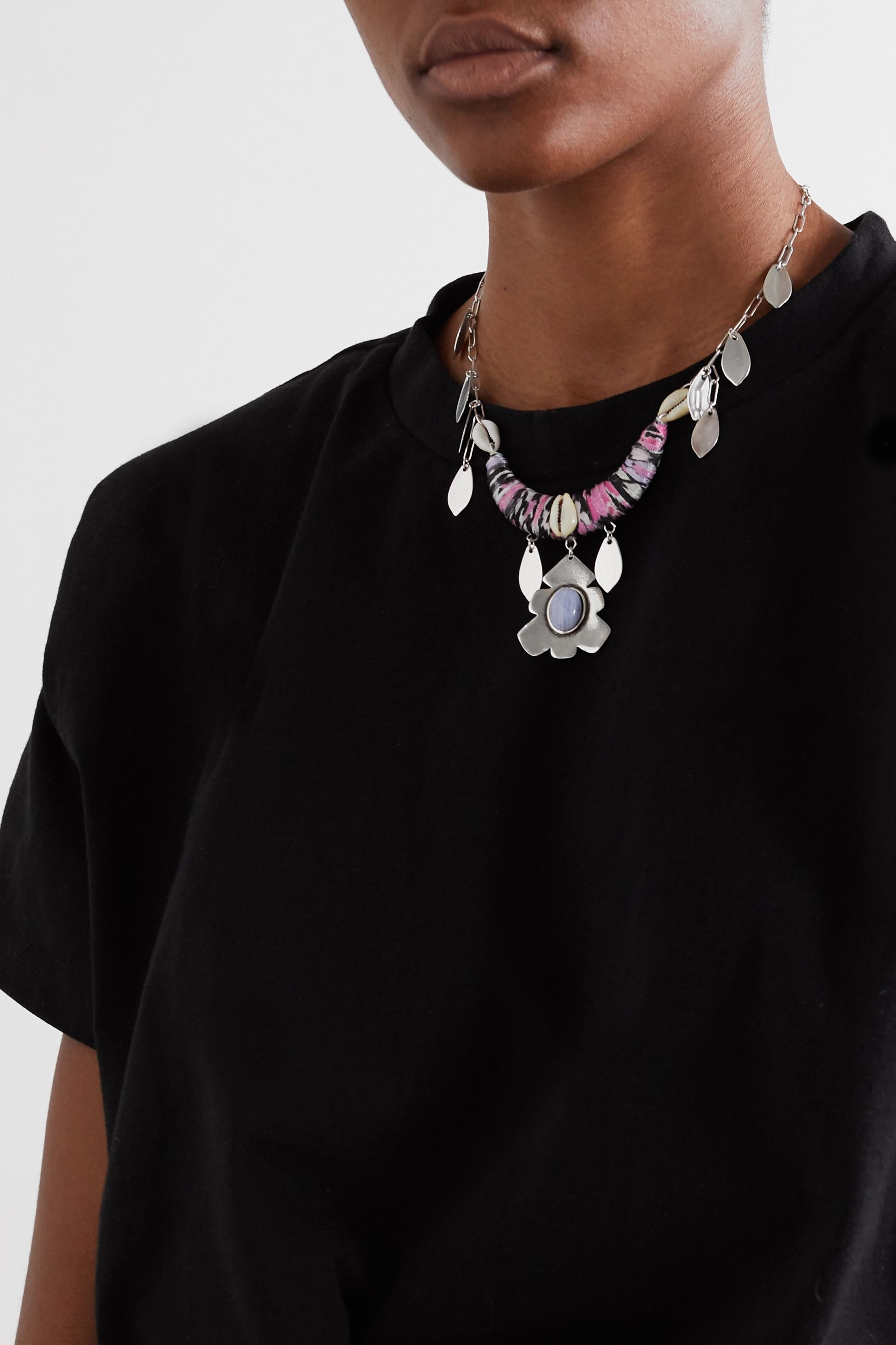 Isabel Marant Silver-tone, shell and satin necklace