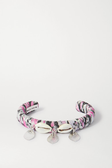 Isabel Marant Silver-tone, Shell And Satin Cuff In Black