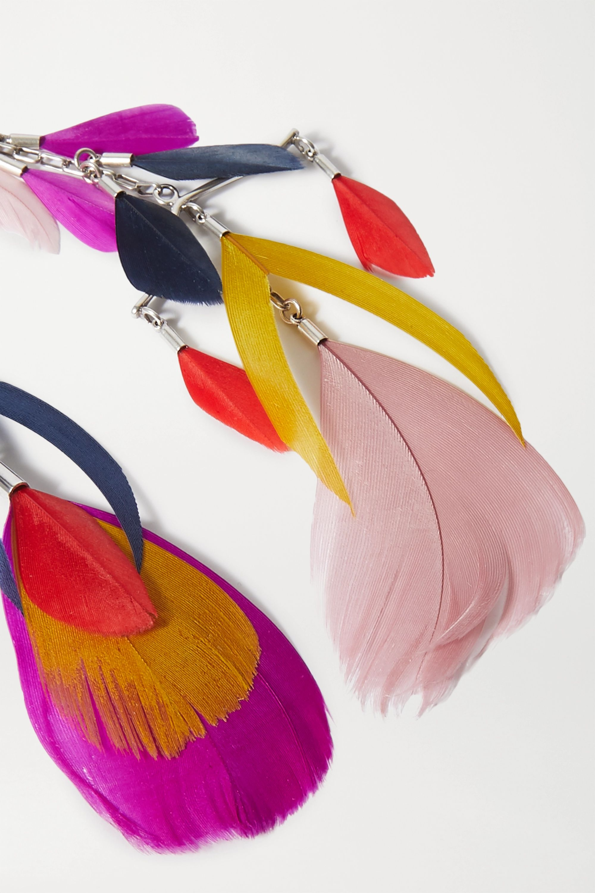 Isabel Marant Silver-tone and feather earrings