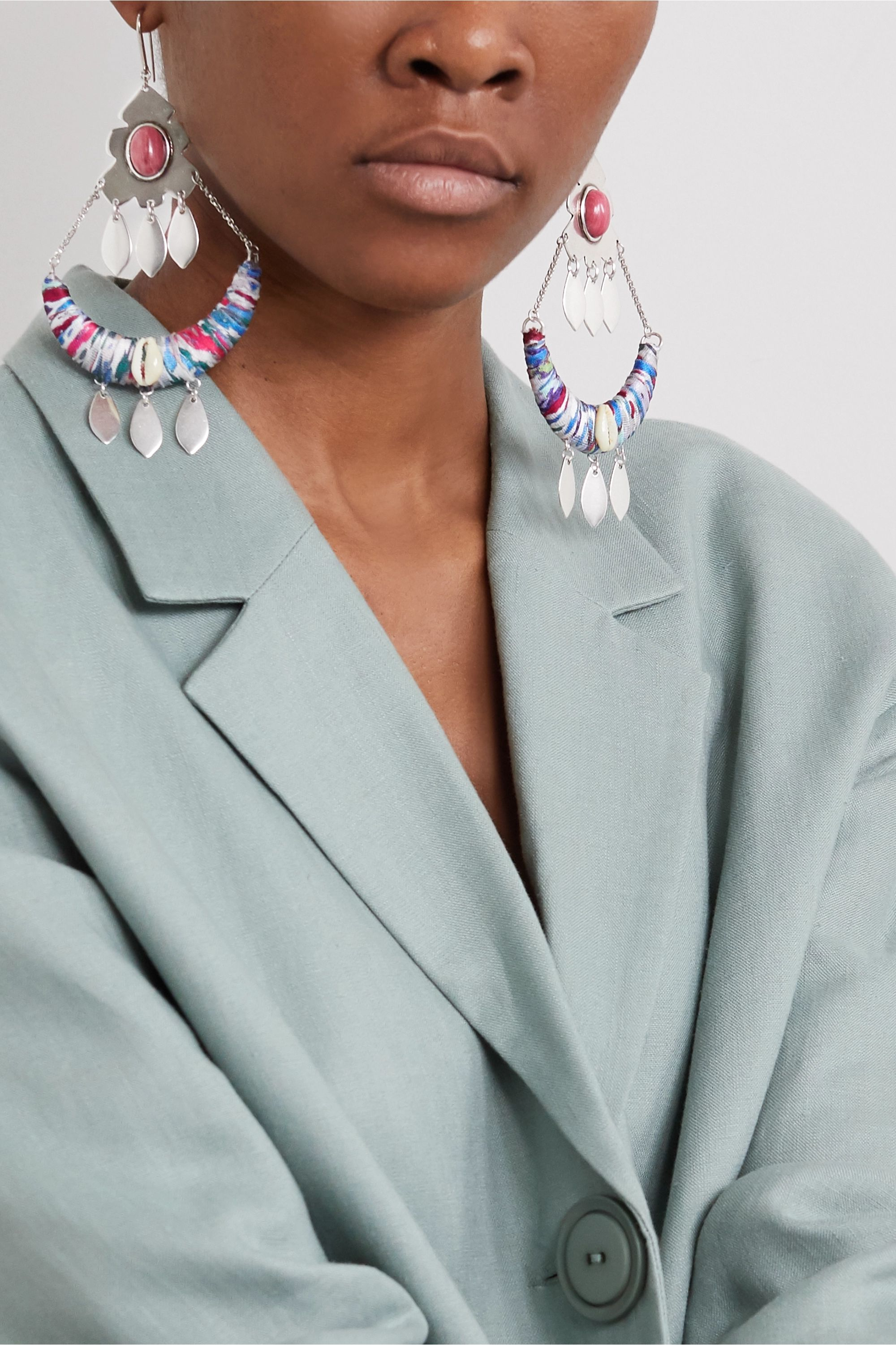 Isabel Marant Silver-tone, shell and satin earrings