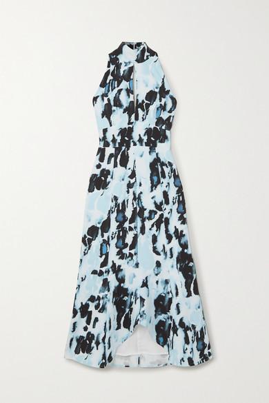16ARLINGTON - Davis Cutout Printed Satin Midi Dress - Blue
