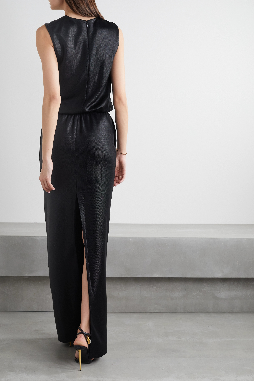 TOM FORD Cutout draped stretch satin-piqué gown
