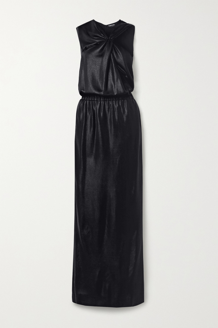 TOM FORD Cutout draped stretch satin-piqué gown