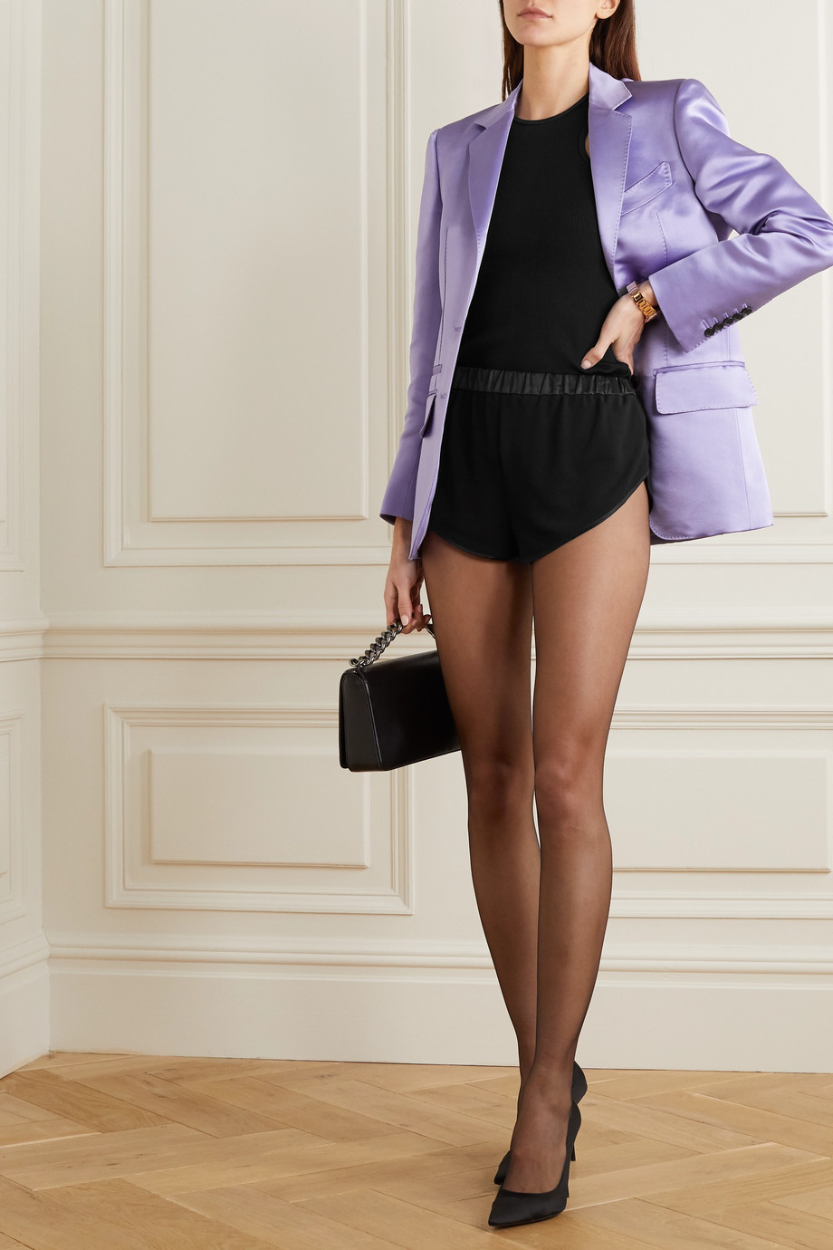 TOM FORD Silk satin-trimmed georgette shorts