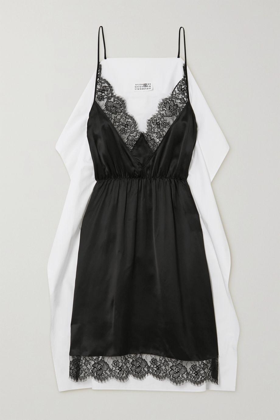 MM6 Maison Margiela Paneled lace-trimmed satin and cotton-poplin midi dress