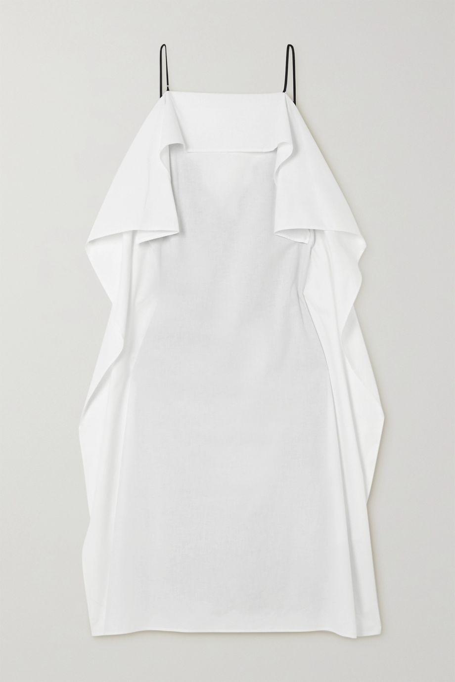 MM6 Maison Margiela 拼接蕾丝边饰缎布纯棉府绸中长连衣裙