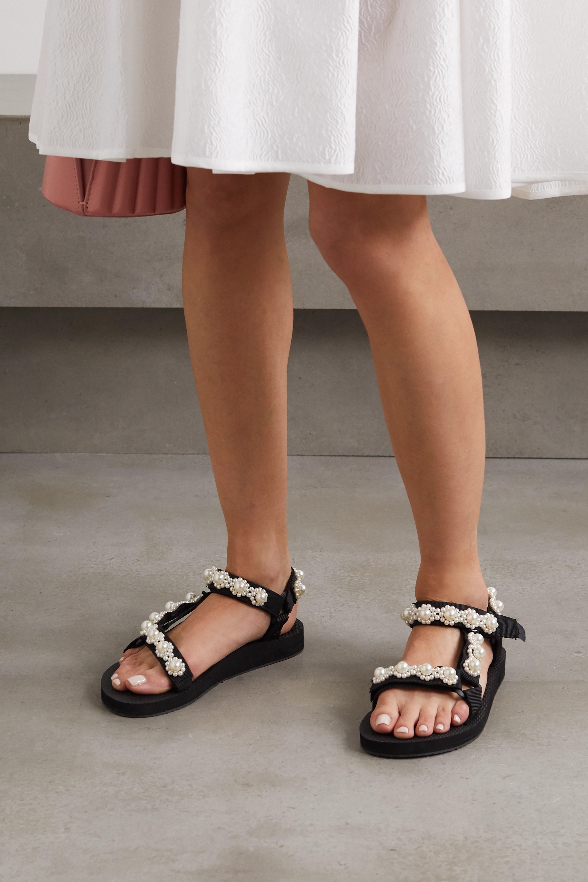 Arizona Love Trekky Chic faux pearl-embellished canvas platform sandals