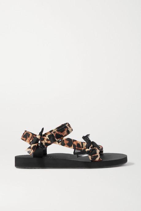 Leopard print Trekky leopard-print gauze-trimmed canvas platform sandals   Arizona Love 7Kp1QY