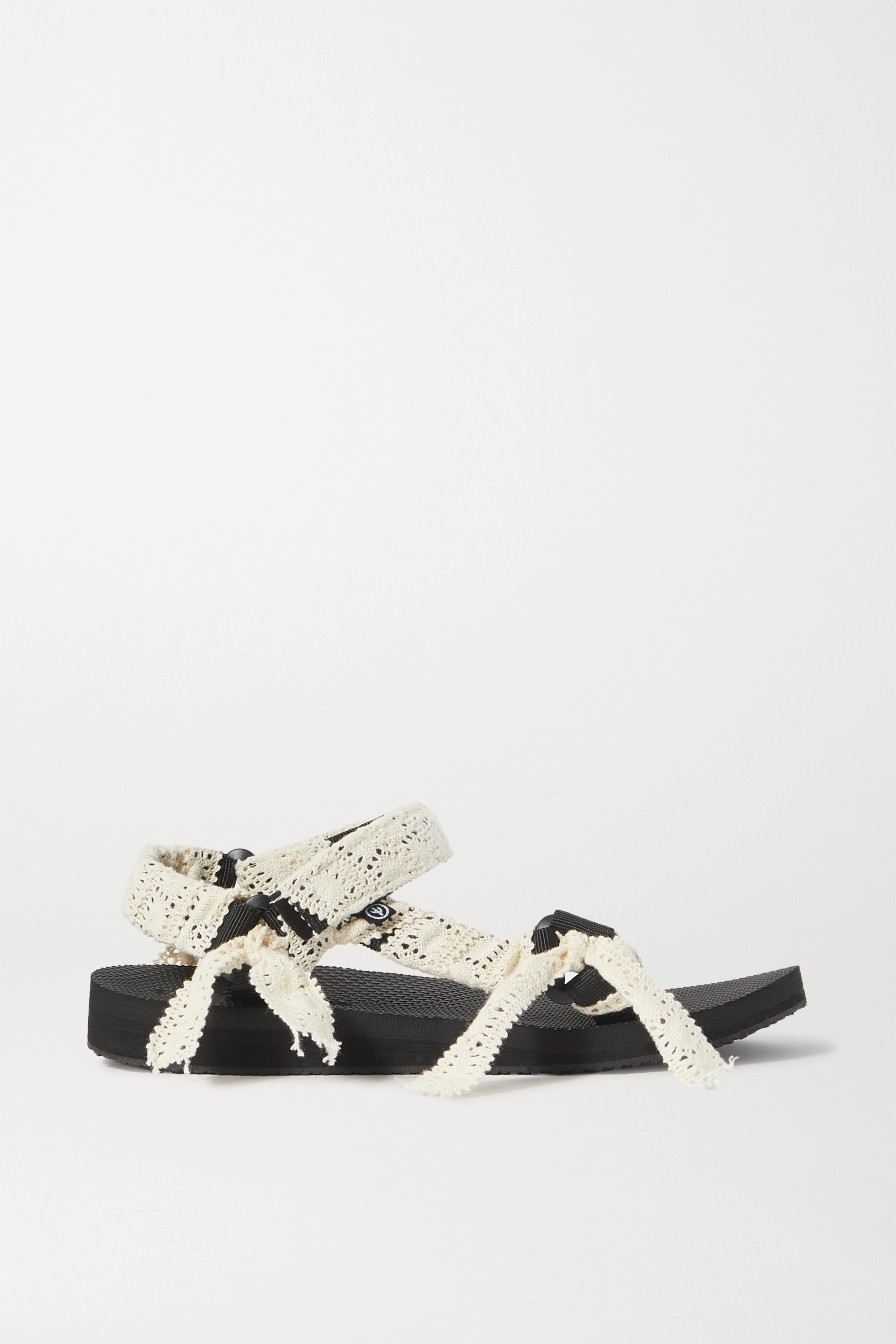 Arizona Love Trekky Fun crocheted lace and canvas platform sandals