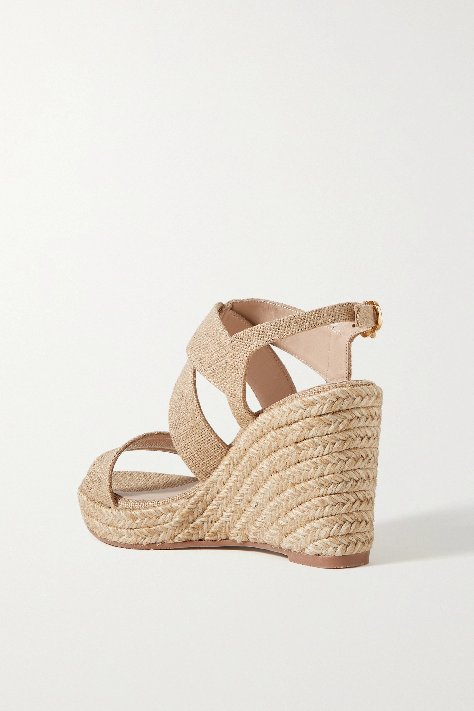 Stuart Weitzman Ellette metallic canvas espadrille wedge sandals