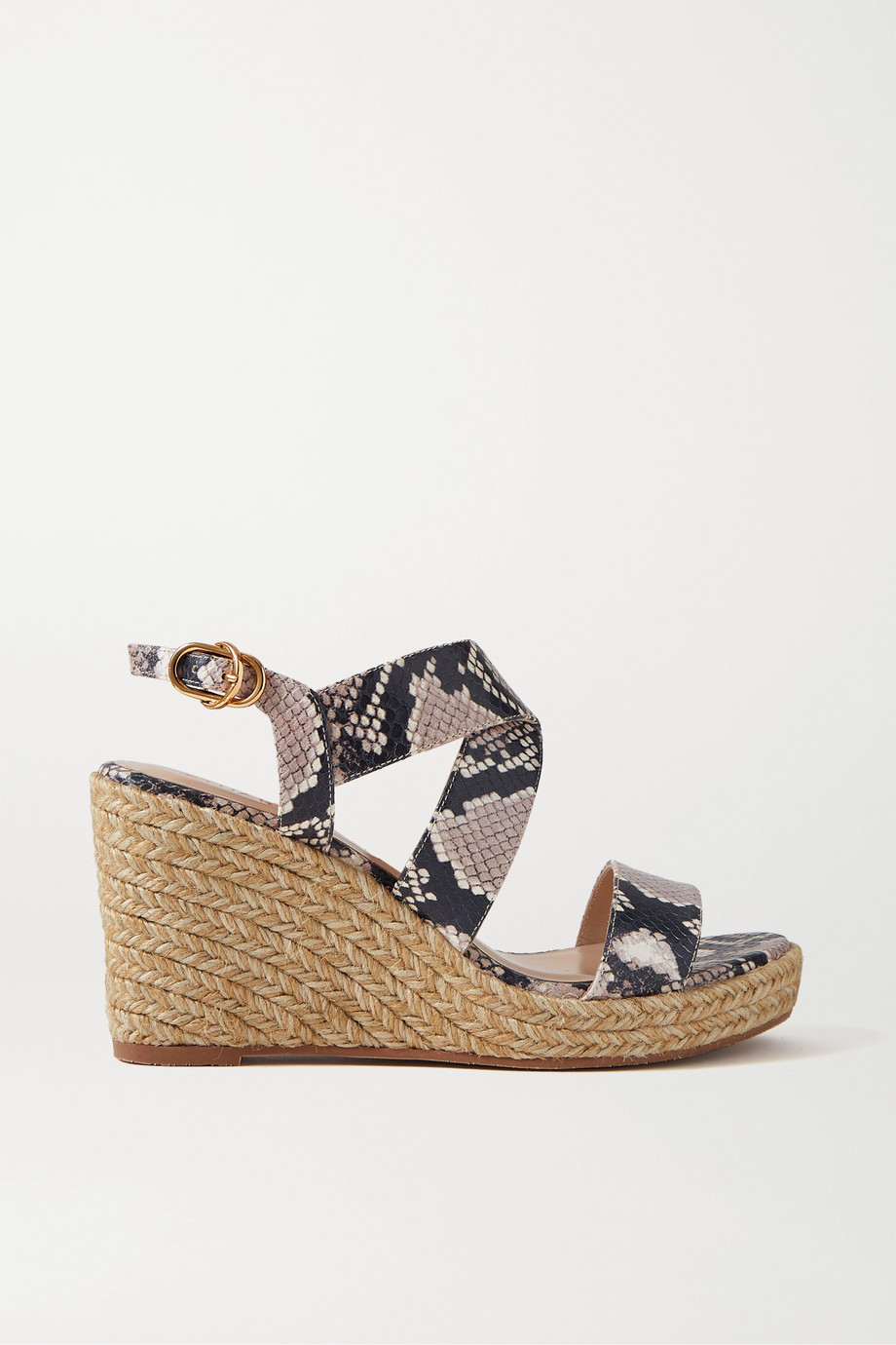 Stuart Weitzman Ellette snake-effect leather espadrille wedge sandals