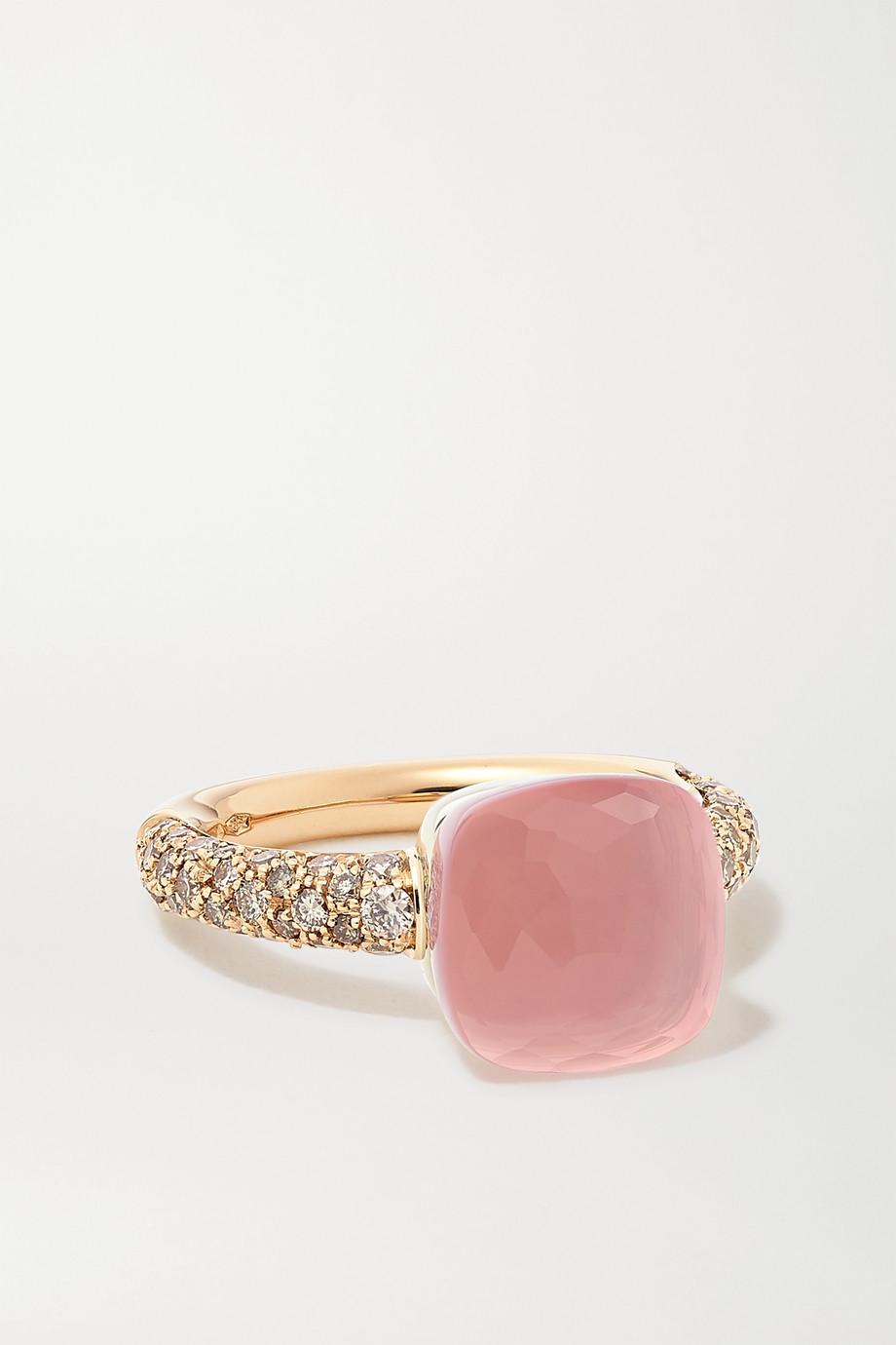 Pomellato Nudo Classic 18-karat white and rose gold multi-stone ring