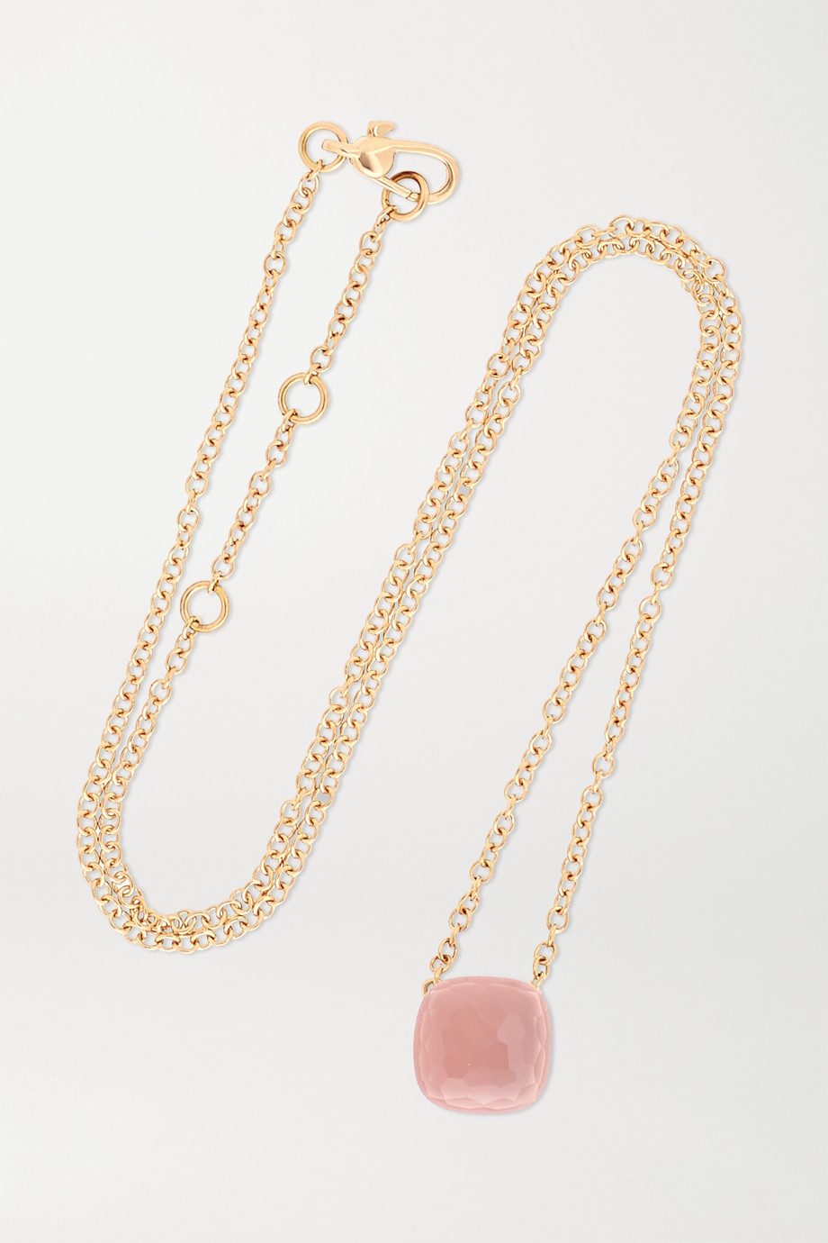 Pomellato Nudo 18-karat white and rose gold, rose quartz and chalcedony necklace