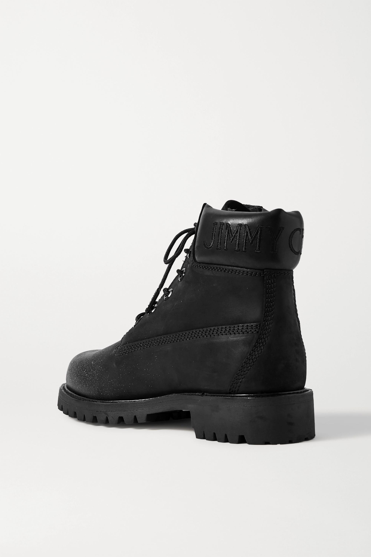 Jimmy Choo x Timberland 刺绣皮革边饰亮片金葱牛巴革踝靴