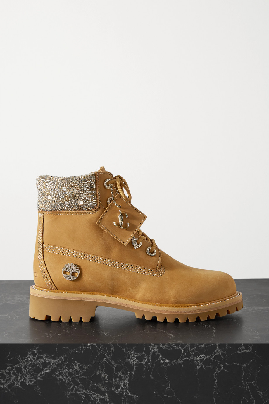 Jimmy Choo + Timberland crystal-embellished nubuck ankle boots