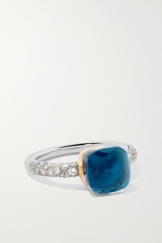 Pomellato Nudo Petit 18-karat white and rose gold multi-stone ring