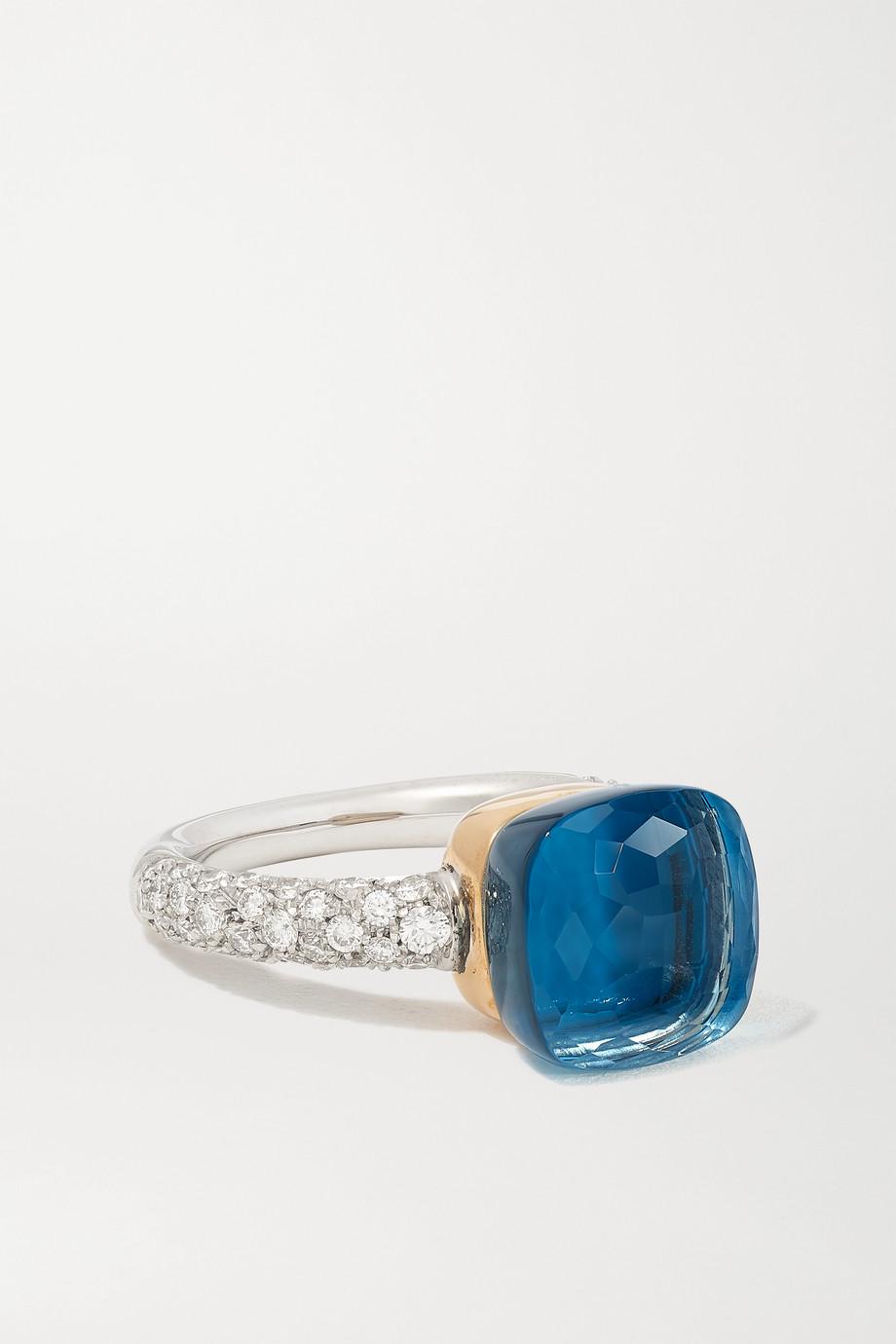 Pomellato Nudo 18-karat white and rose gold multi-stone ring