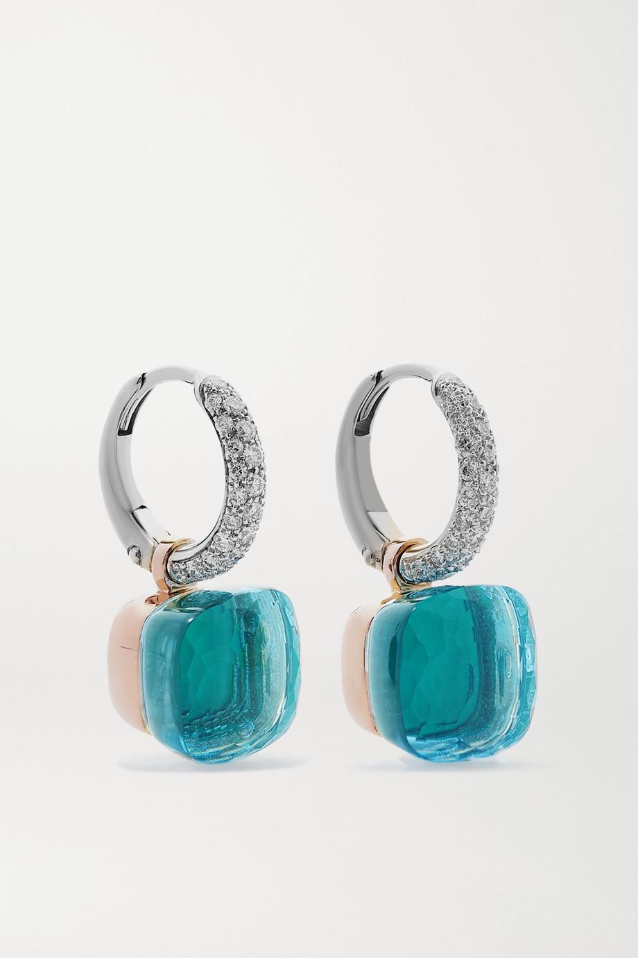 Pomellato Nudo 18-karat white and rose gold multi-stone earrings