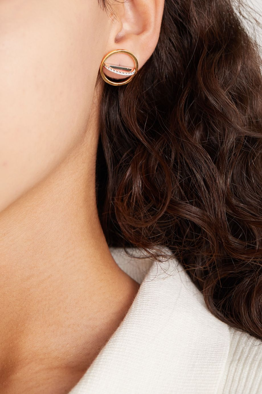 Delfina Delettrez 18-karat yellow and white gold diamond earrings