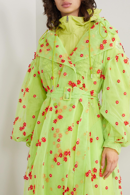Moncler Genius + 4 Simone Rocha Coronilla hooded appliquéd embroidered tulle trench coat