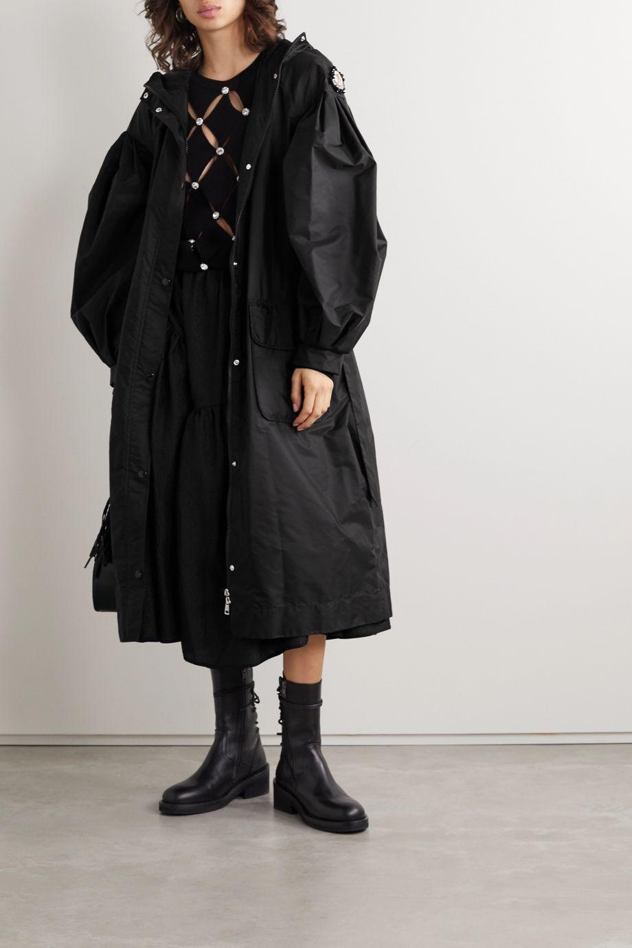 Moncler Genius + 4 Simone Rocha Eminia verzierter Mantel aus Shell mit Kapuze und Applikation