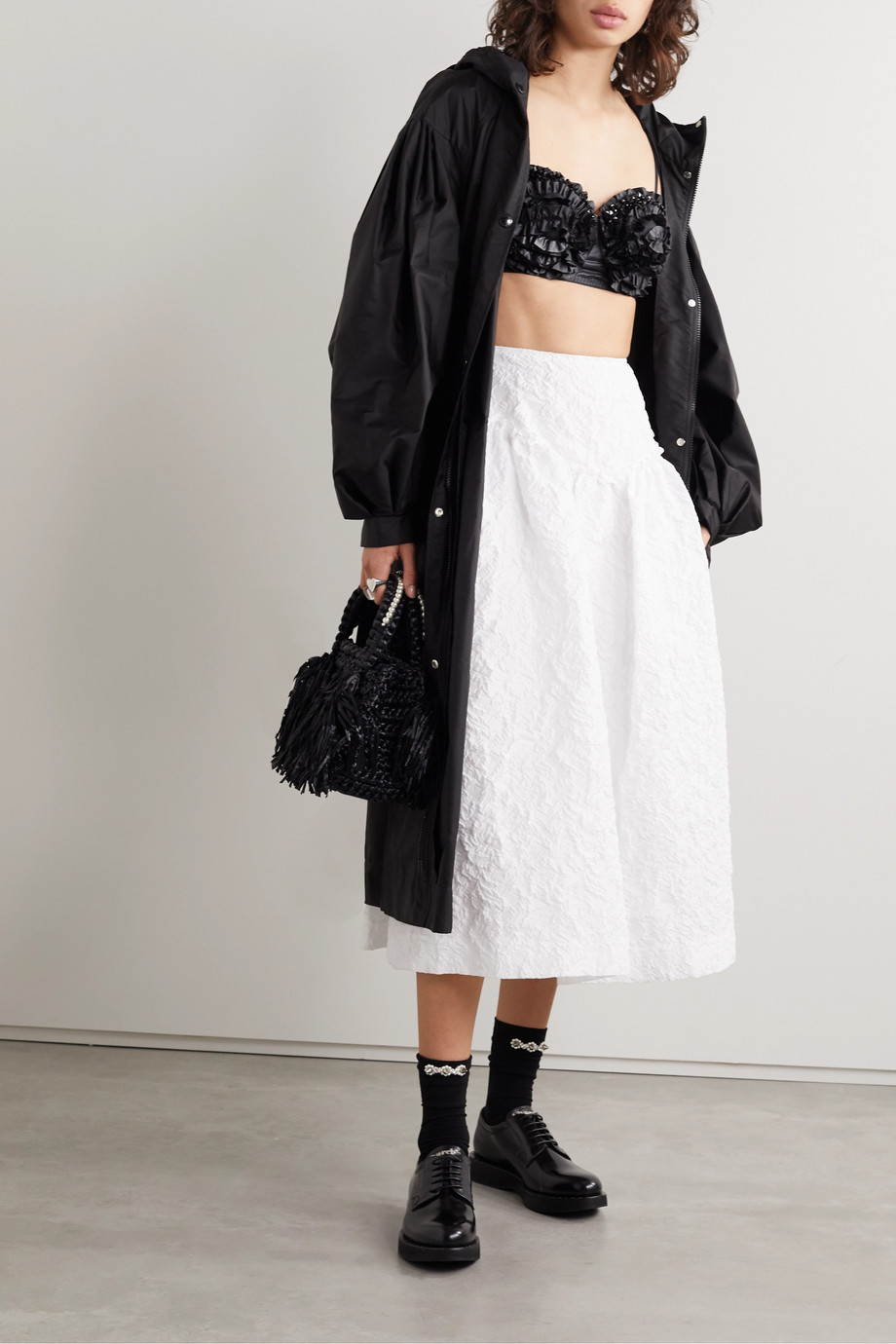 Moncler Genius + 4 Simone Rocha ruffled embellished shell down and mesh bralette