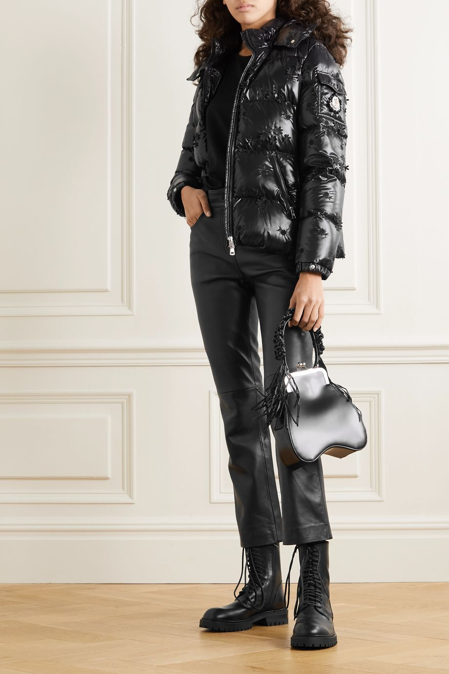 Moncler Genius +4 Simone Rocha Callitris appliquéd hooded quilted glossed-shell down jacket