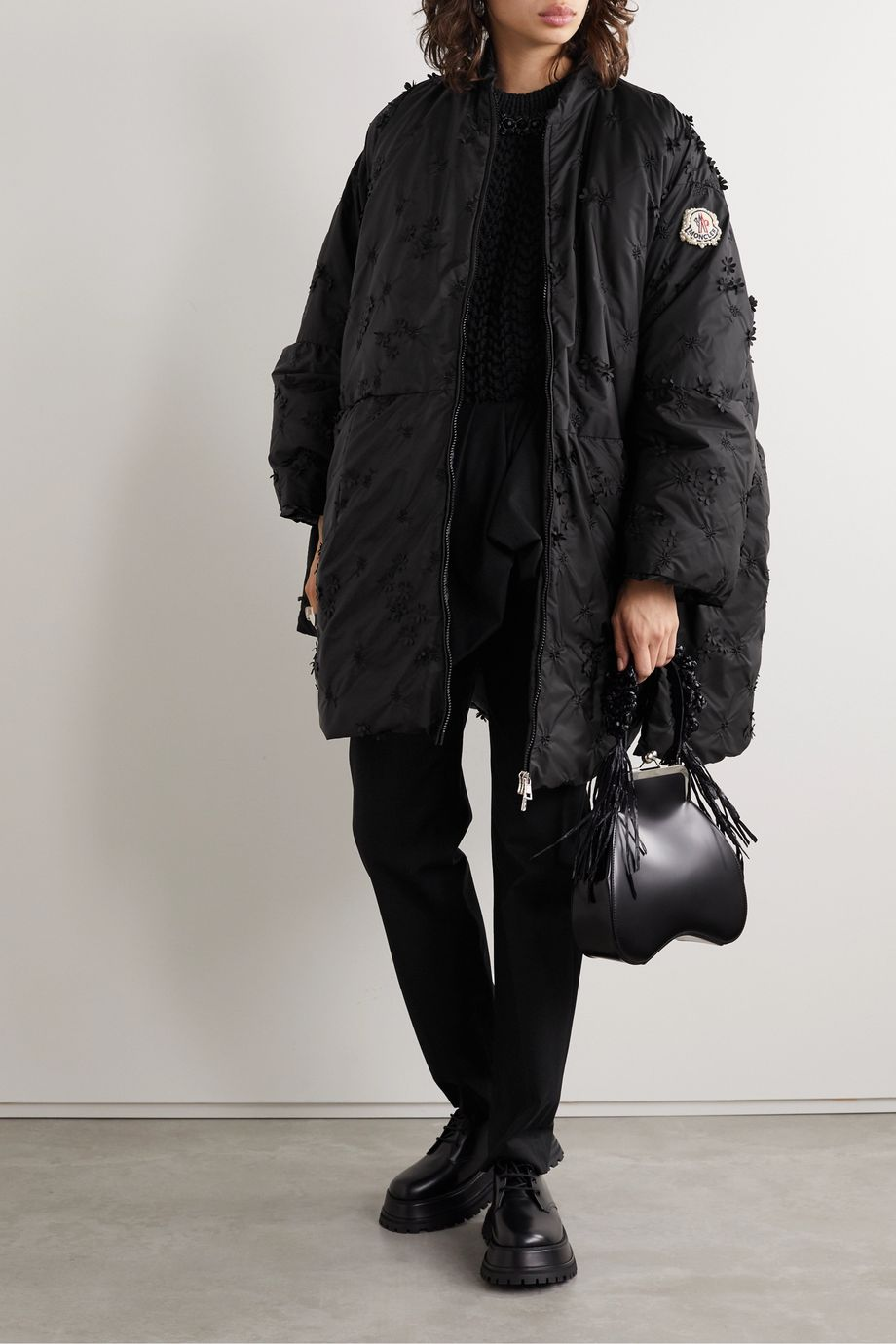 Moncler Genius + 4 Simone Rocha Alpinia appliquéd embroidered quilted shell down coat