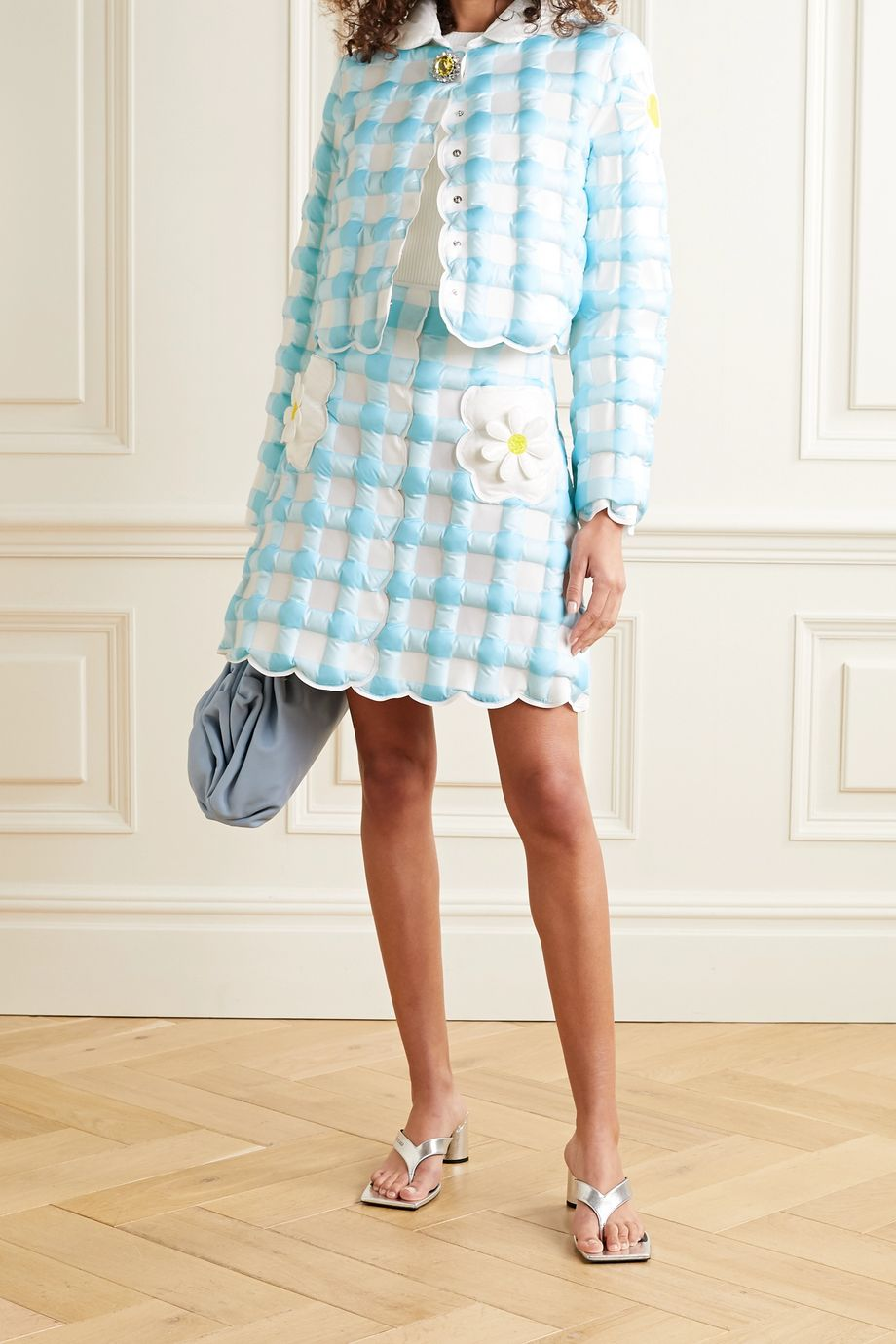 Moncler Genius + 8 Richard Quinn checked quilted shell down mini skirt