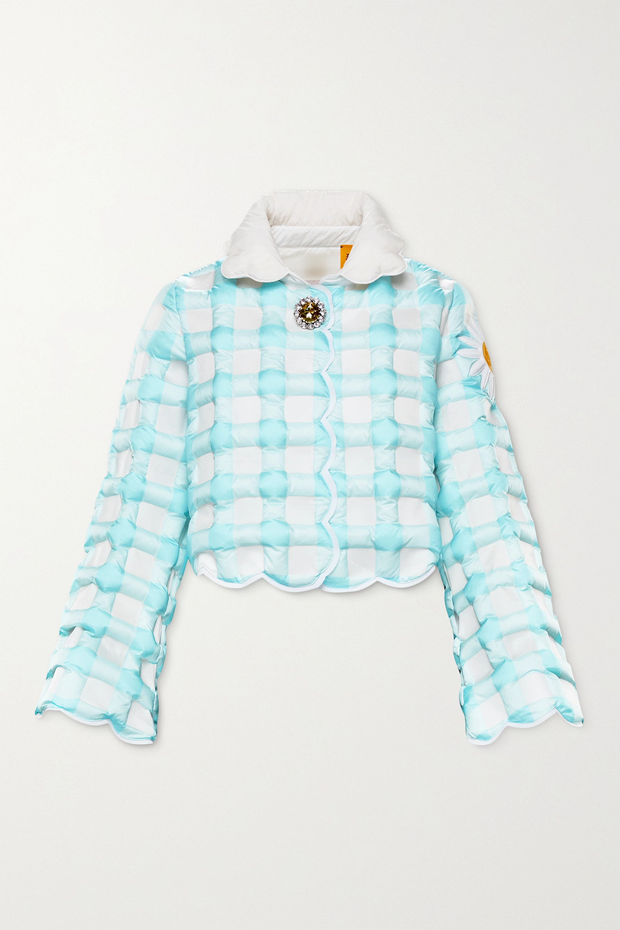 Moncler Genius + 8 Richard Quinn Elke cropped checked quilted shell down jacket