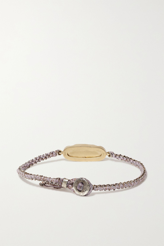 Brooke Gregson Icicle 14-karat gold, sterling silver, silk and ametrine bracelet