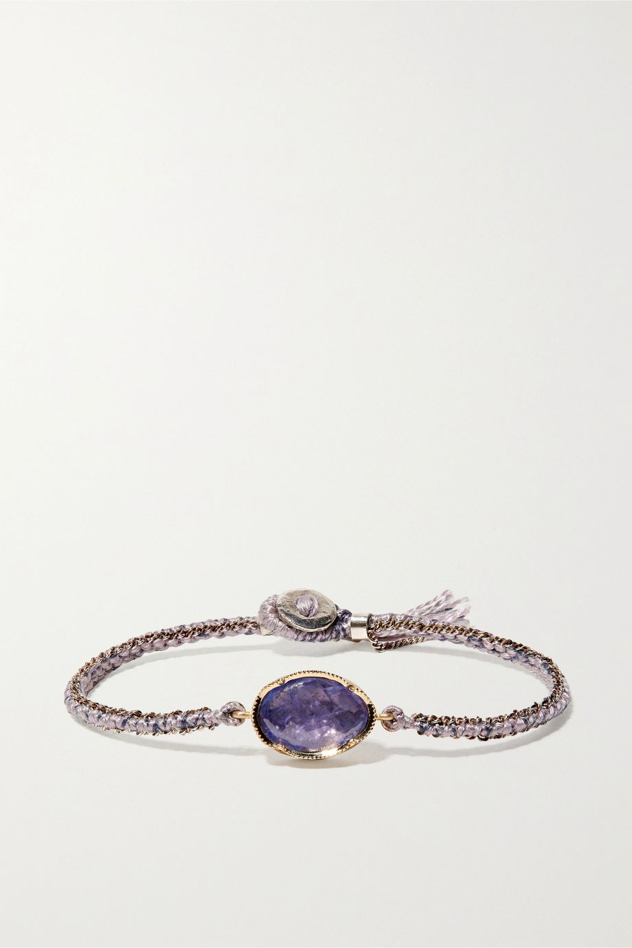 Brooke Gregson Orbit 14-karat gold, sterling silver, silk and tanzanite bracelet