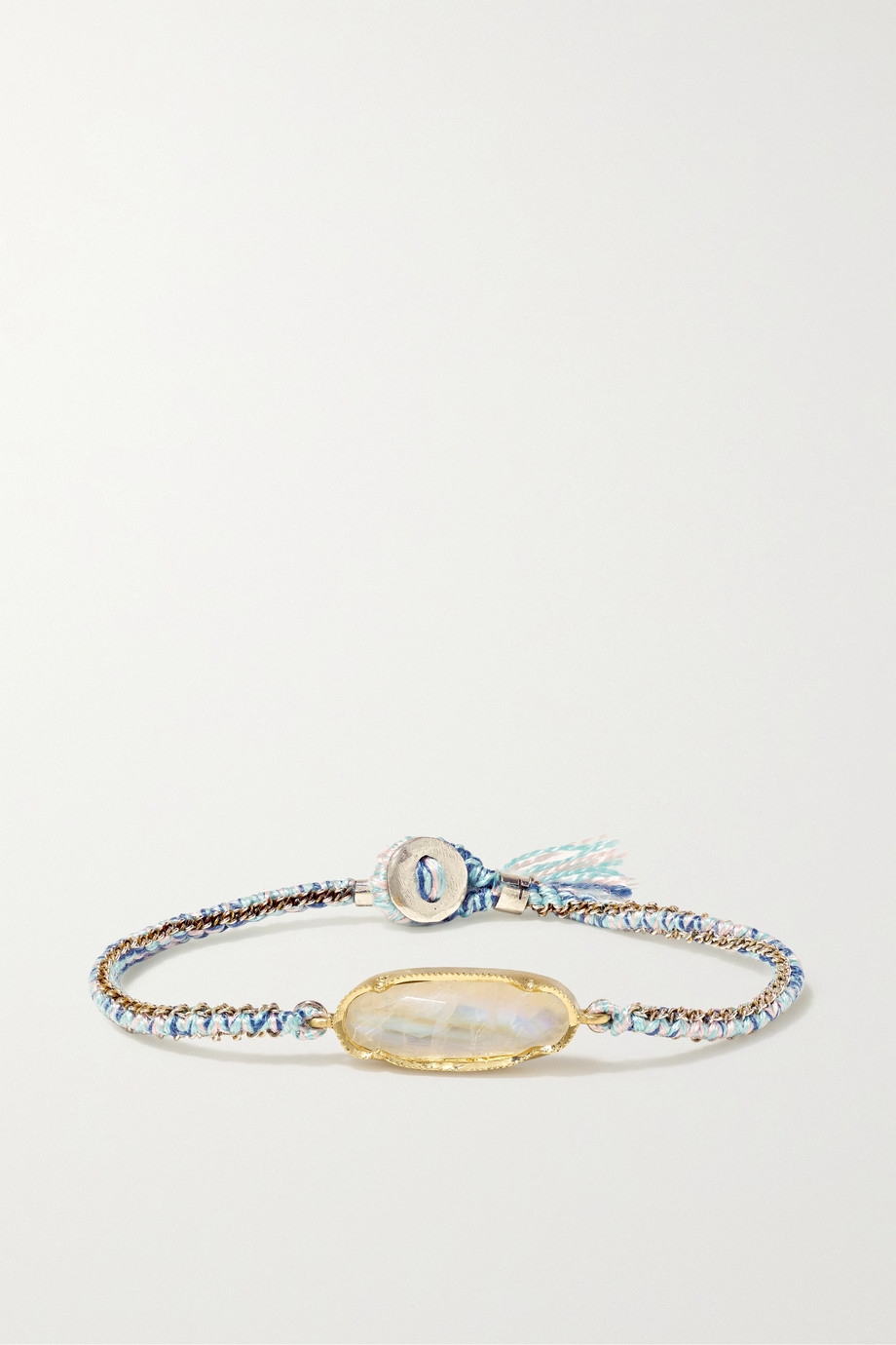 Brooke Gregson Icicle 14-karat gold, sterling silver, silk and moonstone bracelet