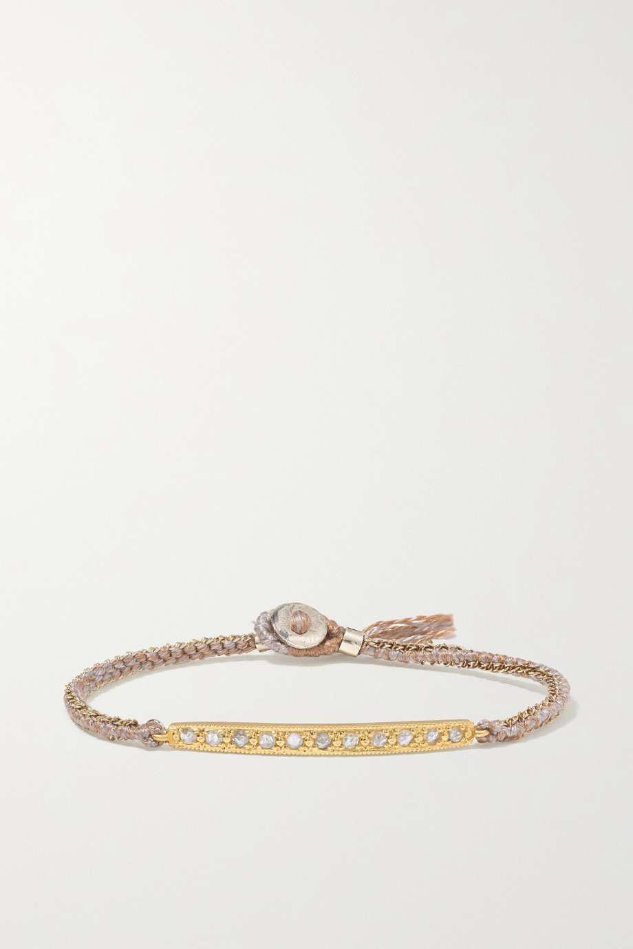 Brooke Gregson 14-karat gold, sterling silver, silk and diamond bracelet