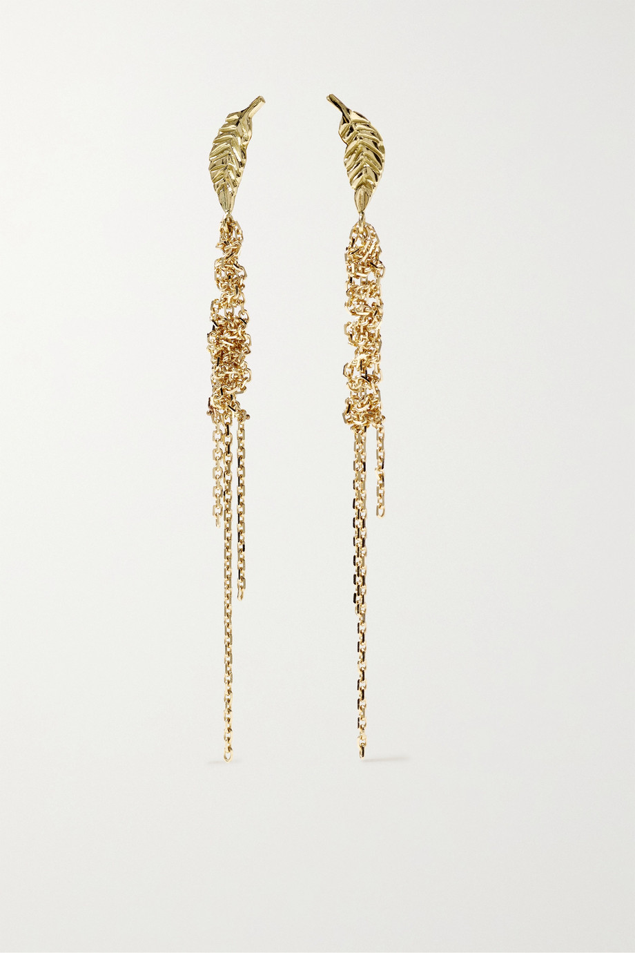 Brooke Gregson Waterfall Leaf 18-karat gold earrings