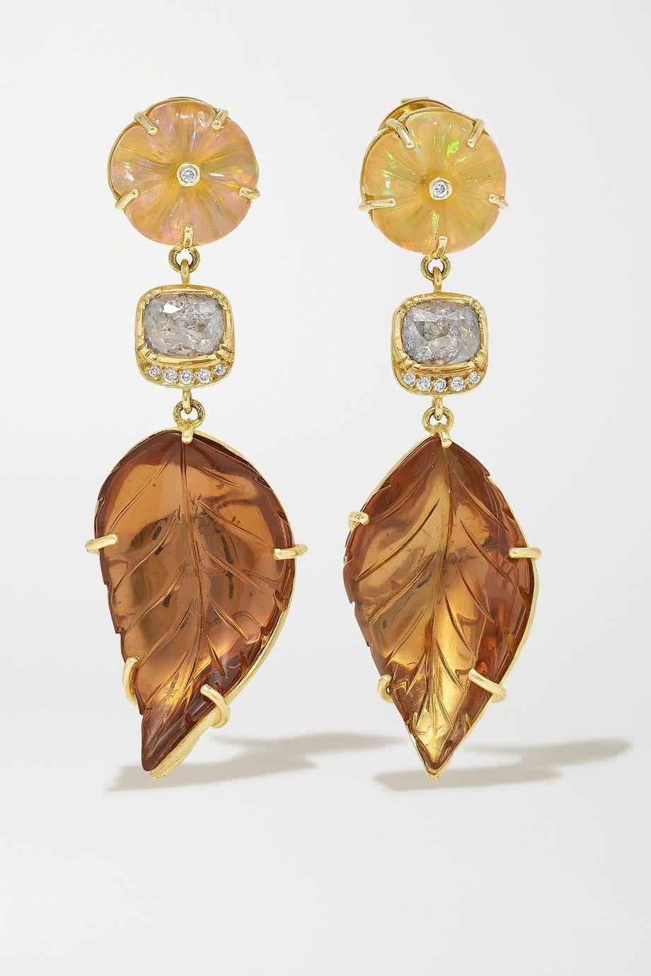 Brooke Gregson Boucles d'oreilles en or 18 carats et pierres multiples Blossom Leaf