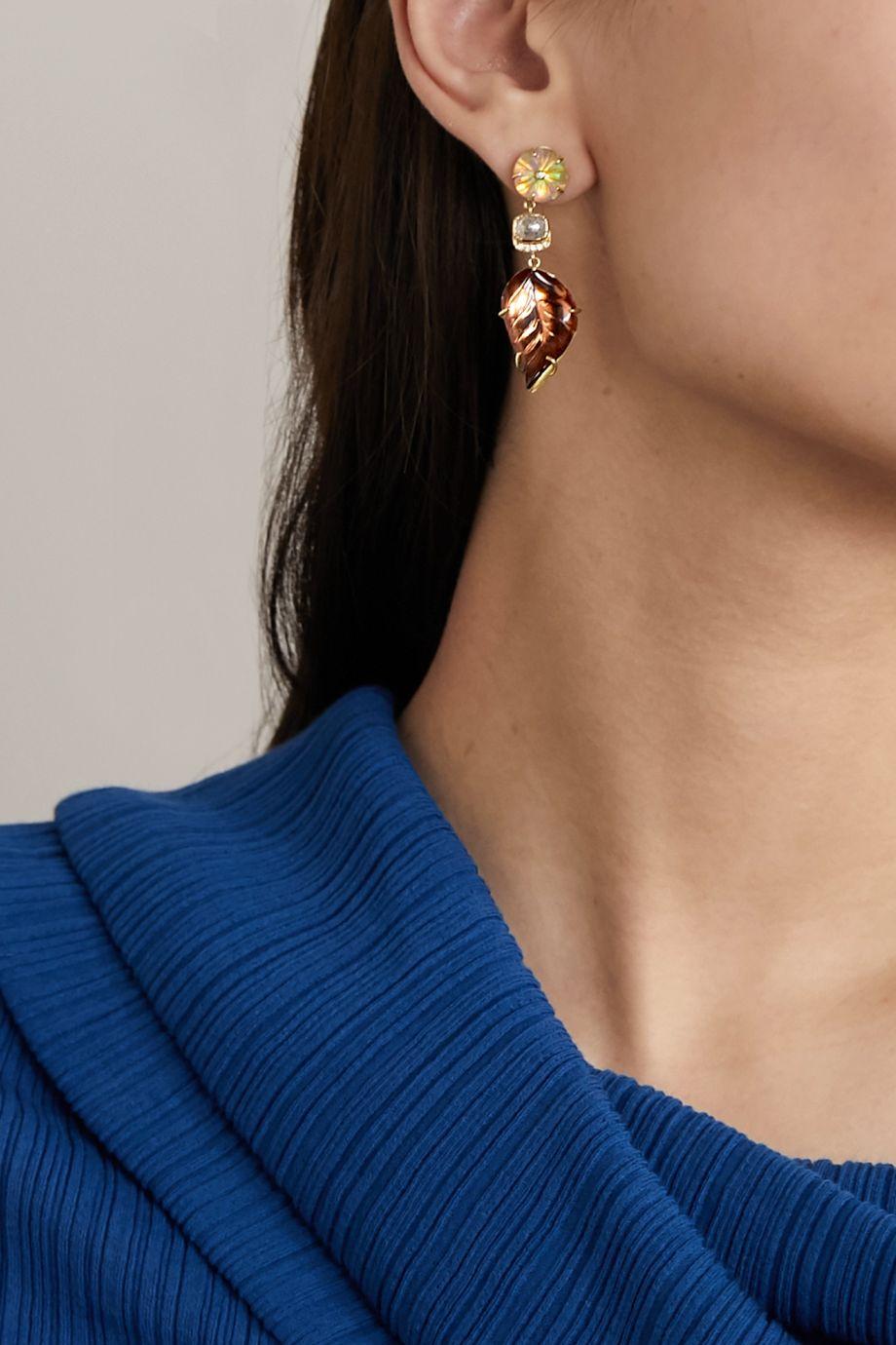 Brooke Gregson Blossom Leaf Ohrringe aus 18 Karat Gold mit mehreren Steinen
