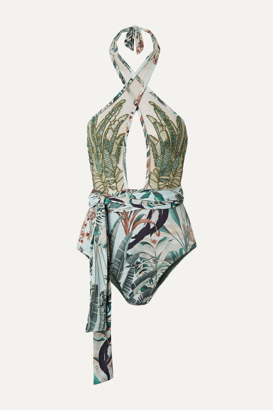 PatBO Eden belted embellished tulle-paneled halterneck swimsuit